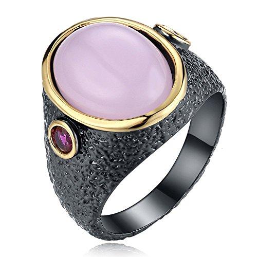 LILIMO Modeschmuck Vergoldet Ehering Schwarz Gold Ring Rosa Zirkon Weiblich Schwarz Kupfer Ring Größe 6-9,9# (Gelbe 14kt Gold Engagement Ring)