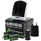 Blanc–More Power + 8010294Chargeur de batterie Set pour Gopro 4