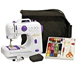 Sew Lite Compact Sewing Machine With 16 Coloured Thread Spools 16 Coloured Bobbins 5 Needles 1 Needle Threader Measuring Tape Thimble and Foot Pedal - Purple / White.