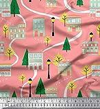 Soimoi Naranja Jersey de algodon Tela árbol, farola y casa arquitectonico estampados de tela por metro 58 Pulgadas de ancho