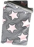 Wollhuhn Warmes Halstuch, Schlupfschal, Schal CIRCLE STARS grau/rosa für Jungen und Mädchen, Innenseite aus Fleece, 20171106