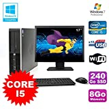 HP Lot PC Elite 8200 SFF Core I5 3.1GHz 8Go 240Go SSD DVD WIFI W7 + Ecran 17