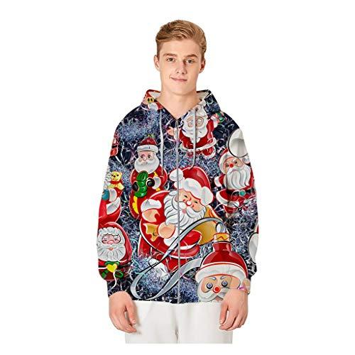 LIMITA Herren Reißverschluss Weihnachtsjacke Winter Kapuzenpullover Rundhals Sweatshirt Mode Warme Mantel Weihnachts 3D Druck Oberteile Tops