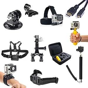 SAVFY® 11 IN 1 GoPro Sport Kamera Zubehör-Set 11 Stück Schutztragetasche + Kopfband + Brustgurt+Fahrradlenkerhalterung usw. für GoPro HD Hero 1 2 3 3+