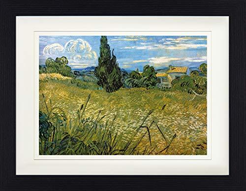 1art1 113293 Vincent Van Gogh - Grünes Weizenfeld Mit Zypresse, 1889 Gerahmtes Poster Für Fans Und Sammler 40 x 30 cm -