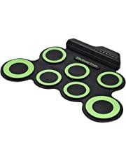 XuBa Portable Electronic Drum Digital USB 7 Pads Roll up Drum Set Silicone Electric Drum Pad Kit with DrumSticks Foot Pedal green