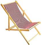2er Set Holz Strandstuhl Strandliege Liegestuhl Klappbar Gartenliege Sonnenliege Campingstuhl (Rot)
