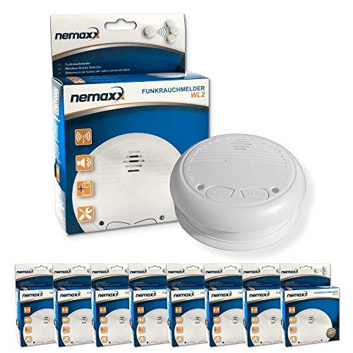8x Nemaxx WL2 Funkrauchmelder ★ hochwertiger Rauchmelder Brandmelder Set Funk koppelbar vernetzt ★ nach DIN EN 14604