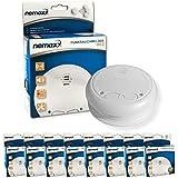 Nemaxx WL2 - Detectores de humo inalámbricos, 8 unidades, cumplen con normativa EN 14604, color blanco