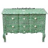 Luxury Handicrafts Estelle Bone Inlay Kommode, Holz, grün, W 105 x D 50 x H 80 cm