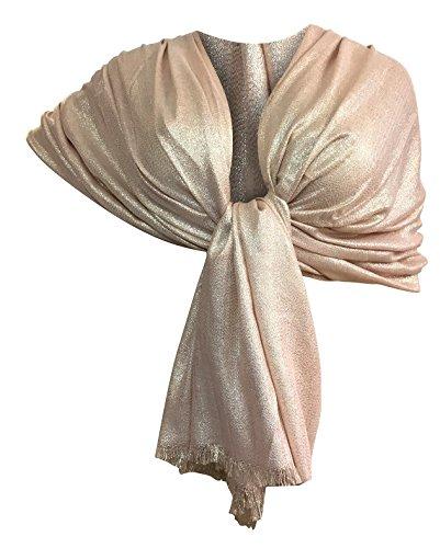 Ltp brillante elegante maxi sciarpa filo oro o argento scialle foulard,da donna ragazza coprispalle stola cerimonia 8 colori (rosa filo oro)