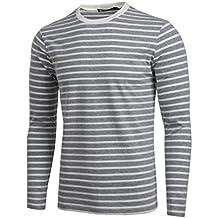 Allegra K Men Crew Neck Long Sleeves Striped T-shirt Small Gray White