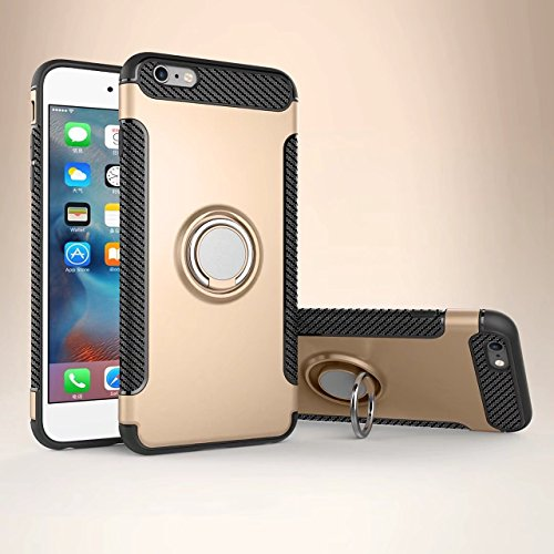 iPhone 6S Plus Hülle, iPhone 6 Plus Schutzhülle 360° Kickstand Magnetic Premium Silicone Bumper Case, Silikon TPU + PC Farbschichtschutz Handyhülle mit 360° Drehbarem Metallhalter, Tasche mit Grip Rin Gold