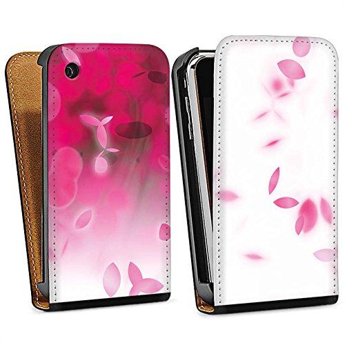 Apple iPhone 5s Housse étui coque protection pink Rose vif Pétales Sac Downflip noir