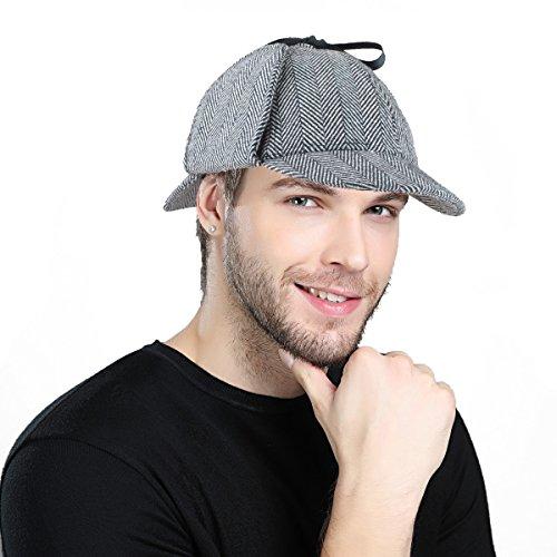 EINSKEY Sherlock Holmes Hut, England Unisex Sherlock Holmes Detective Mütze Verkleidung Deerstalker Hat für Kinder und Erwachsene Design Eimer Hüte Für Männer