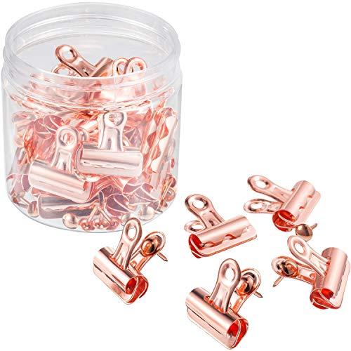 Rosa Gold Metall Push Pin mit Clip für Kork Board und Foto Wand, 25 Pack Metall Clips mit 35 Pack Push Pins