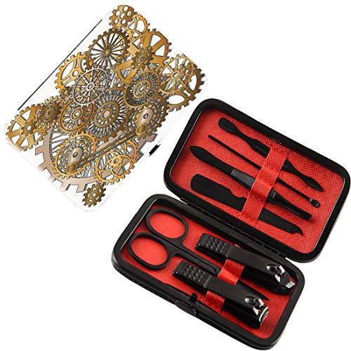 Coupe-ongles 7 pcs Manicure Pedicure Set Décor d'horloge Kit de toilettage  des ongles en acier inoxydable,Les engrenages dans le style de Steampunk