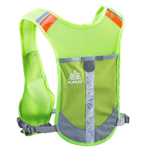 TRIWONDER Gilet Catarifrangente Gilet idratante Zaino idratazione Zaino per Marathoner Running Race Cycling (Verde - Solo Vest)