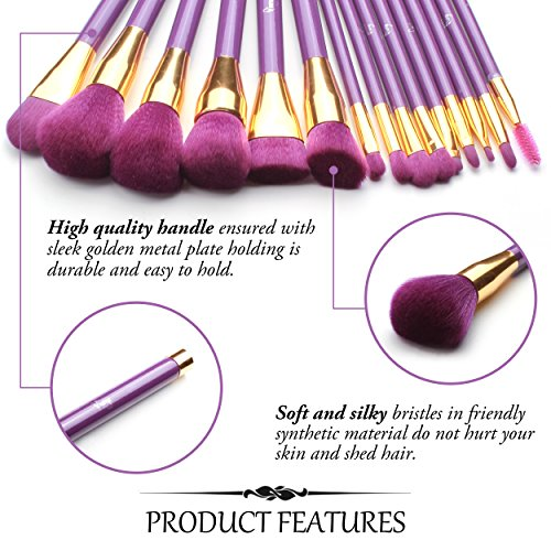 Qivange Makeup Brushes, Professional Vegan/Synthetic Makeup Brush Set Foundation Blush Eyeliner Eyeshadow Makeup Brush Kit + Cosmetic Bag, Purple with Gold (15 pcs)