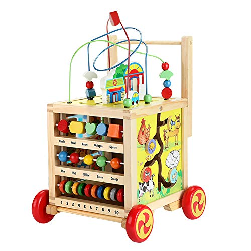 Lauflernwagen Holz Baby Lauflernhilfe Laufwagen Mädchen Junge ab 1 2 3 Jahre, 7 in 1 Holzspielzeug Spielspaß Pädagogisches Spielzeug