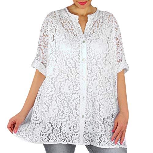 Quadrat Hals T-shirts Tops (Huacat einfarbige Leere Blume Spitze Ärmel Lady lose Lange Größe T-Shirt Mode Sommer V Hals geknöpft Bluse)