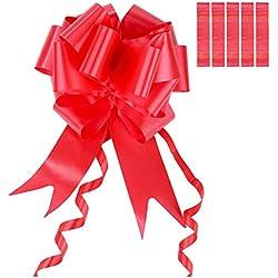 6 Piezas de Lazos de Tirar Grandes 5 cm de Ancho (Rojo)