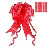 Hicarer 6 Pièces Pull Bows Grand Tirer les Arcs de la Chaîne Tirez Fleur Ruban pour la Décoration de Voiture de Mariage Papier Cadeau, 5 cm de Large (Rouge)