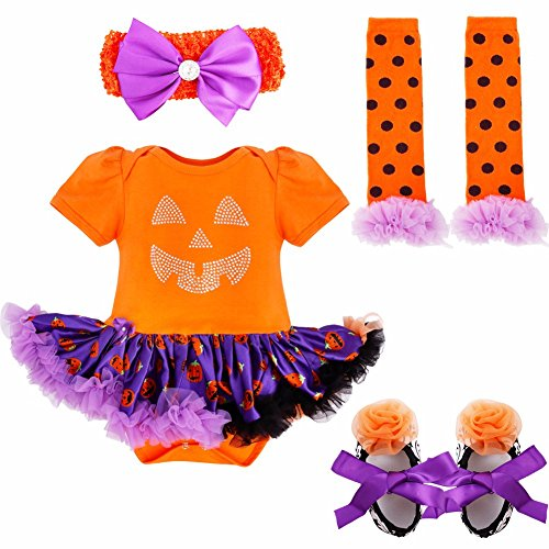 YiZYiF Neugeborenes Baby Mädchen Bekleidungsset Outfits Kürbis Halloween Kostüm Kurzarm Strampler Overall mit Tütü Röckchen + Stirnband + Beinwärmer + Schuhe (0-3 Monate, Orange + (Halloween Monat Kostüm 3 0)