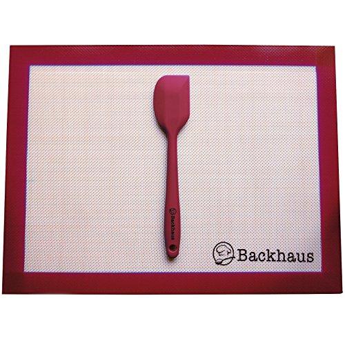 Backhaus Backmatte und Teigschaber, Antihaft-Silikonunterlage für gesundes Kochen ohne Fett und Backpapier | 40x30cm - Rot