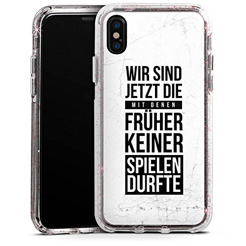 DeinDesign Apple iPhone X Bumper Hülle Bumper Case Glitzer Hülle Humor Fun Sayings
