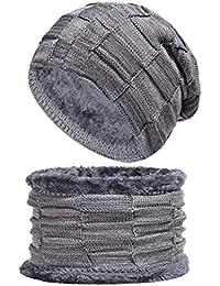 BESBOMIG Caldo Inverno Termico Maglia Cappello e Sciarpa Imposta Addensare Sciare  Cappello - Grande per in ca27b0d004cf