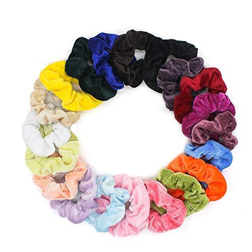 Samt Haargummis Scrunchies, 20 Stücke Bunte Elastische Haar Gummibänder Haarbänder Scrunchies für Mädchen Damen Pferdeschwanz Haarschmuck