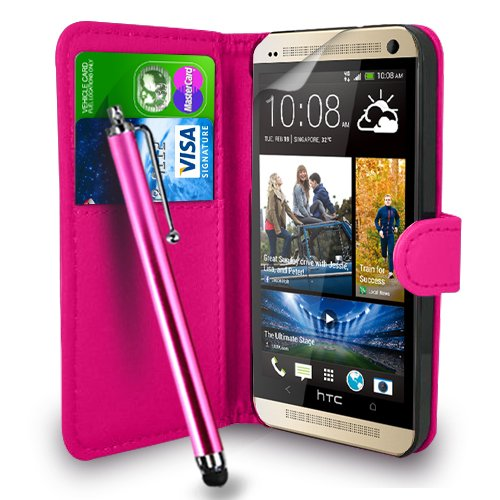 HTC One M8 Pink Leather Wallet Flip Hülle Tasche + Touch Pen Stylus + Display Schutzfolie & Poliertuch