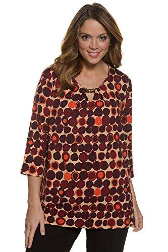 Ulla Popken Damen große Größen Druckshirt | Zierdekor| 3/4-Ärmel | Typ: Classic | bis Größe 62+ 707134 Multicolor
