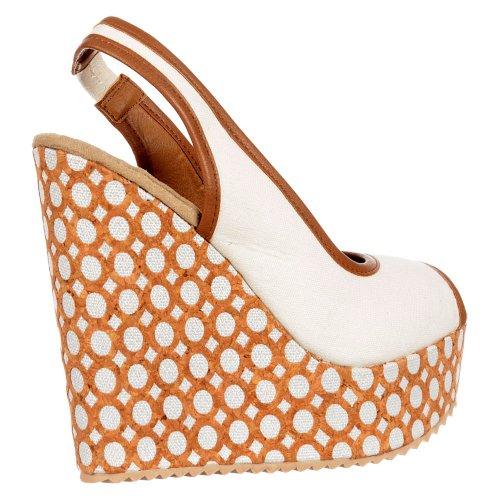 Slingback Peep Toe Decorato Cuneo Sandali Dolcis Donna Bianco
