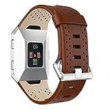 Upxiang Fashion di sport Smart Watch Band cinturino da polso di ricambio bracciale rilascio rapido cinturino in pelle perforata per Fitbit Ionic, donna, Brown