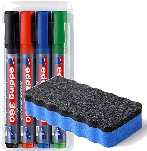 edding 4-360-4 Boardmarker, nachfüllbar, 1.5 - 3 mm, sortiert + Löscher Blau