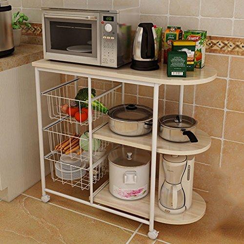 GRY Küchenregal-Mikrowellenherd-Rahmen-Landungs-Lagerregal,Weißer Ahorn -