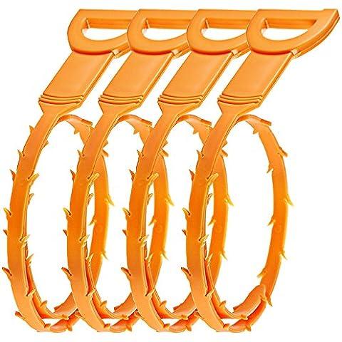 Drenaje Senhai pelo del estorbo Remover, 4 paquetes de drenaje serpiente Equipo / Auger herramienta de limpieza de