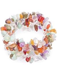 Bling Jewelry Simulated Amethyst Multi Stone Chakra Chips Stretch Bracelet