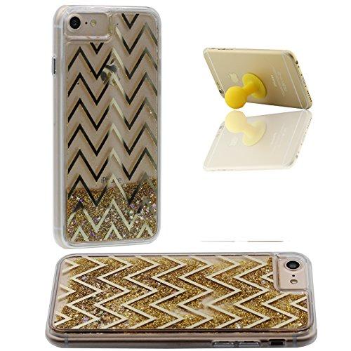 Schutzhülle Für Apple iPhone 7 4.7 inch Hülle Cover Goldpulver Fließen Hart Transparent Flüssiges Wasser Kreativ Geometrie Linie iPhone 7 Case X 1 Silikon Halter gold-3