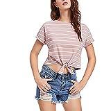 T-Shirt Damen Sommer, Teenager Mädchen Mode Tie up Gestreift Crop Top Bauchfrei Shirt Sport Bluse Oberteil Kurzes Top Hemd Frauen Sommer Kurzarm Streifen T Shirt Tops Pullover Sale (Rosa, M)