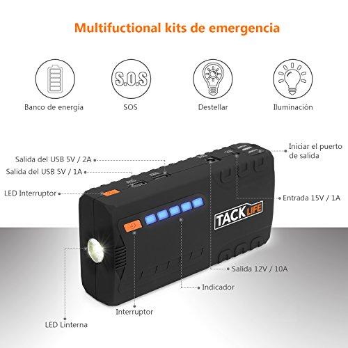 TACKLIFE T6 Arrancador de Coche - 600A Pico 16500mAh Jump Starter, Batería Arrancador de Coche (Hasta 6.2L en Gas o 5.0L en Diesel), Bateria Externa con Puertos de Carga Dual, Linterna LED, Certificación UL