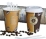 Gastro-Bedarf-Gutheil 50 Cafe to go Kaffeebecher 300 ml Premium mit 50 Deckel Coffee to go Heissgetränkebecher + 100 Rührstäbchen, 14 cm Weiss Tee Pappbecher