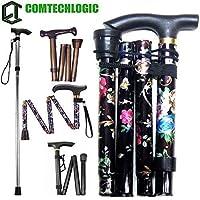 Comtechlogic® CM-4003 Adjustable Folding Metal Folding Cane Travel Use Folding Walking Hiking Stick (Floral Black)