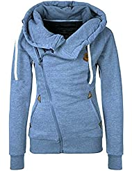 Newbestyle Frühling Herbst Damen Sweatshirt Langärmelige Frauen Outerwear mit Kapuzen und Schrägem Reißverschluss