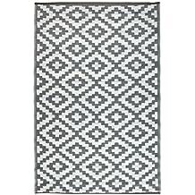 Green Decore 150 x 240 cm Alfombra Ecológica para Interiores y Exteriores de Plástico Reciclado - Ligera y Reversible - Indoor / Outdoor - Gris / Blanco