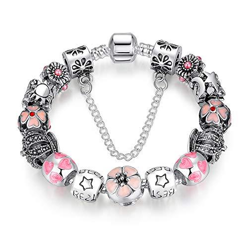 A TE Bracciale Charms Beads Cristalli rosa chiaro/sora/viola Regalo Donna Ragazza SKU:JW-B12