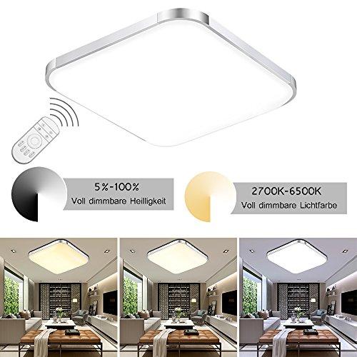 ETiME LED Deckenleuchte Dimmbar Deckenlampe LED Modern Wohnzimmer Lampe Schlafzimmer Küche Panel Leuchte 2700-6500K mit Fernbedienung Silber (53x53cm 36W Dimmbar)