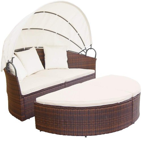 Miadomodo Hochwertige Polyrattan Ø 180 cm Sonneninsel Lounge Liege (Farbwahl) inkl. Kissen, Sitzauflage und Sonnendach (Braun)